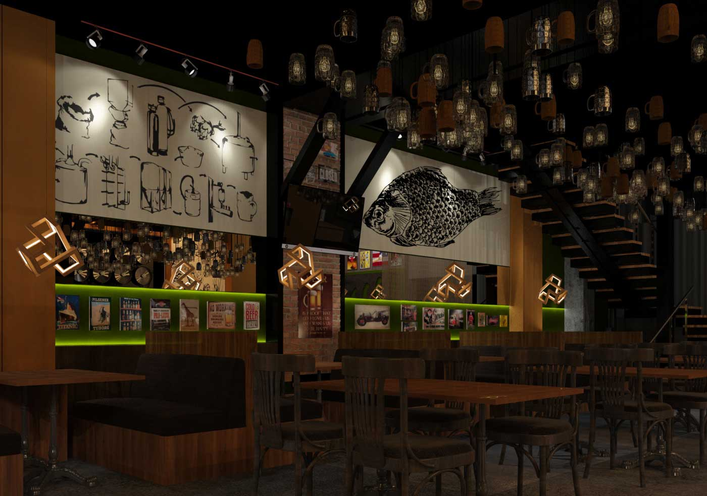 Design project of a cafe-bar PIVZAVOD77 in Moscow